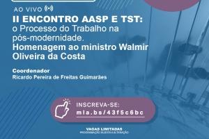 II ENCONTRO AASP E TST: o Processo do Trabalho na pós-modernidade. Homenagem ao ministro Walmir Oliveira da Costa