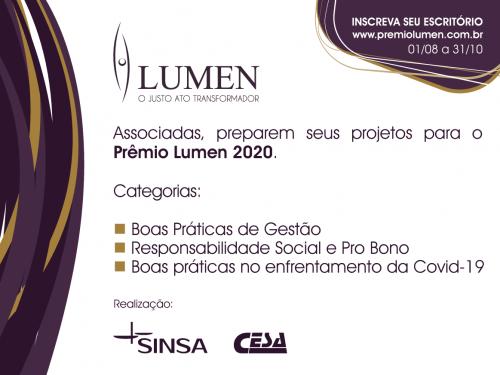 Sinsa lança Prêmio Lumen 2020. Inscrições a partir de 1º de agosto